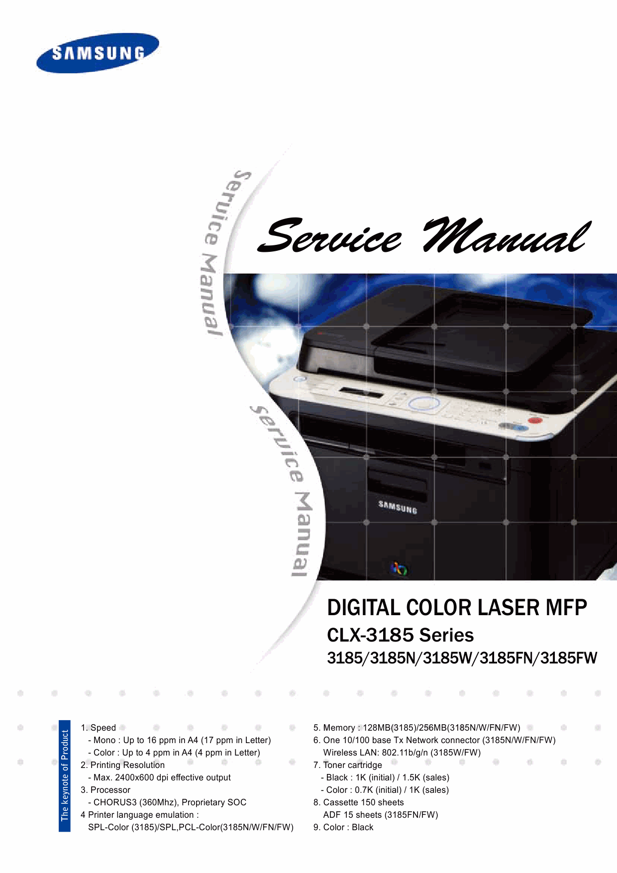Samsung Digital-Color-Laser-MFP CLX-3185 Series N W FN FW Parts and Service Manual-1